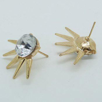 Punk Rhinestoned Rivet Stud Earrings - GOLDEN