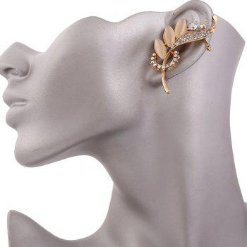 Waterdrop Leaf Rhinestone Embellished Ear Cuff