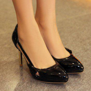 Bow Patent Leather Hollow Out Pumps - BLACK 37