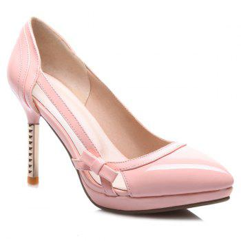 Bow Patent Leather Hollow Out Pumps - PINK 38