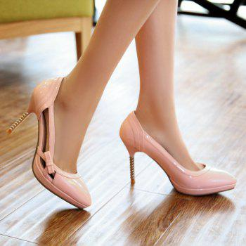 Bow Patent Leather Hollow Out Pumps