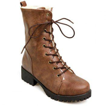 PU Leather Tie Up Chunky Heel Boots - BROWN 39