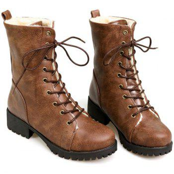 PU Leather Tie Up Chunky Heel Boots - BROWN 38