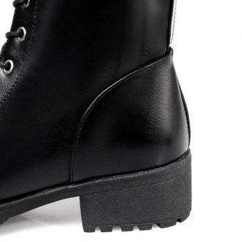PU Leather Tie Up Chunky Heel Boots - BLACK 37