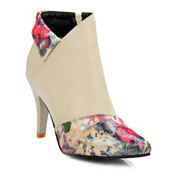 Zipper Floral Print Stiletto Heel Short Boots