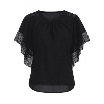 Buy Chic Batwing Sleeve Lace Spliced Blouse BLACK