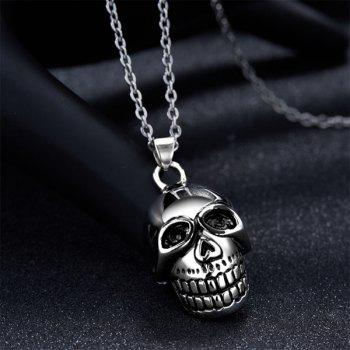 Fashion High Polished Cut Out Skull Necklace - SILVER