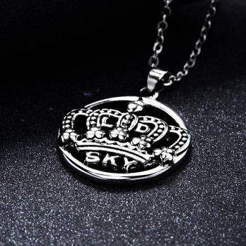 Etched Filigree Crown Letters Round Pendant Necklace - SILVER
