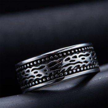 Fashion Style Embossed Stoving Varnish Ring - SILVER SILVER
