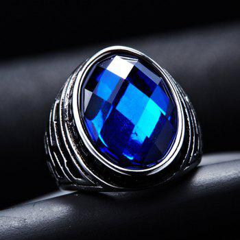 Fashion Oval Faux Crystal Embossed Ring - SAPPHIRE BLUE 8