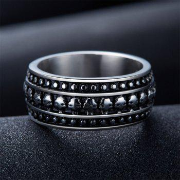 Retro Style Etched Skull Pattern Ring - SILVER GRAY 12