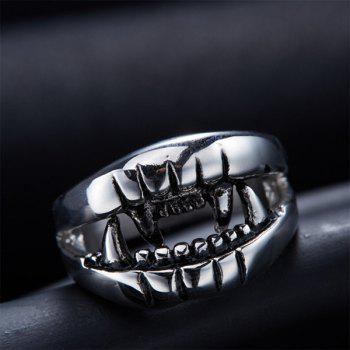 Fashion Style Cut Out Finger Devil Ring - SILVER 8