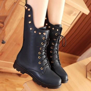 Flat Rivet Tie Up Mid Calf Boots - 39 39