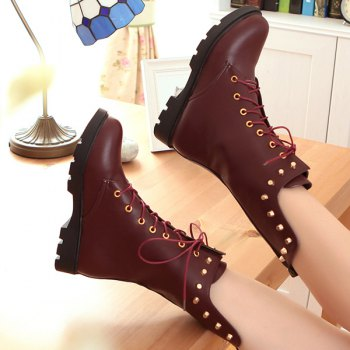 Flat Rivet Tie Up Mid Calf Boots - WINE RED WINE RED