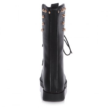 Flat Rivet Tie Up Mid Calf Boots - 40 40