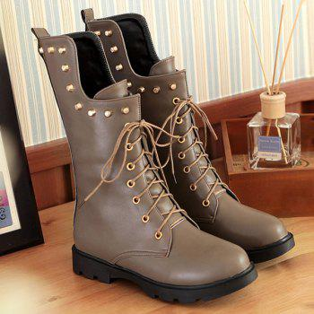 Flat Rivet Tie Up Mid Calf Boots