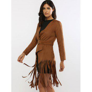 Fringed Belted Faux Suede Wrap Coat - BROWN BROWN