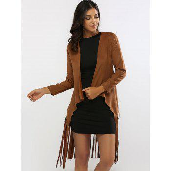 Fringed Belted Faux Suede Wrap Coat - S S