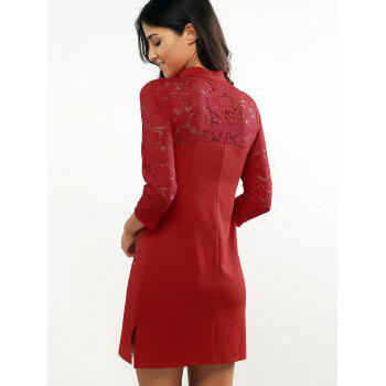 Retro Mandarin Collar Slit Lace Spliced Cheongsam Dress - RED RED