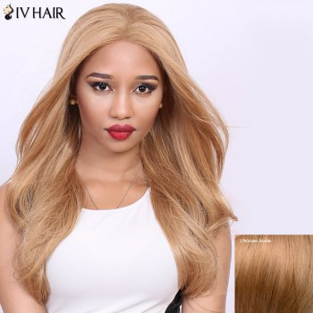 Stunning Long Straight Real Natural Hair Siv Wig - GOLDEN BLONDE GOLDEN BLONDE