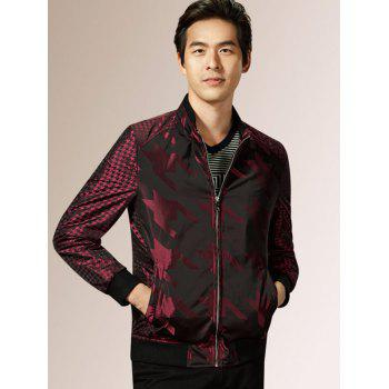 Zip Up Houndstooth Pattern Long Sleeve Padded Jacket - WINE RED 2XL