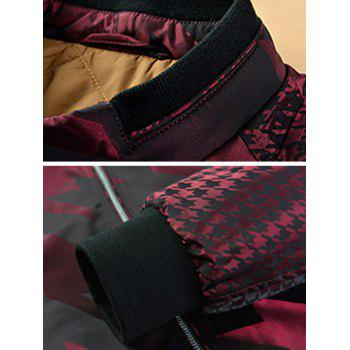 Zip Up Houndstooth Pattern Long Sleeve Padded Jacket - WINE RED WINE RED