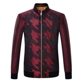 Zip Up Houndstooth Pattern Long Sleeve Padded Jacket
