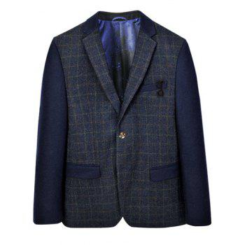 Breast Pocket Plaid Splicing Lapel Long Sleeve Blazer