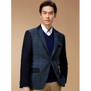 Breast Pocket Plaid Lapel Long Sleeve Blazer