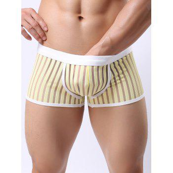 Perspective Stripe Mesh Spliced Boxer Brief