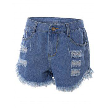 Ripped Raw Hem Asymmetrical Shorts