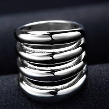 Punk Cut Out Shiny Side Four Rows Ring - SILVER 6