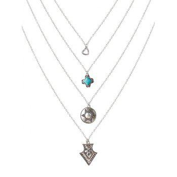 Faux Turquoise Rhinestone Heart Sweater Chain - SILVER SILVER