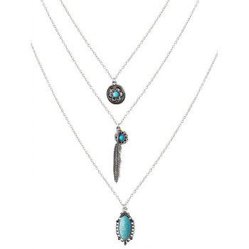 Faux Turquoise Blossom Feather Layered Necklace