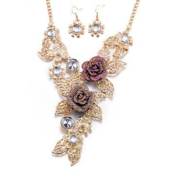 Faux Crystal Blossom Necklace and Earrings - GOLDEN