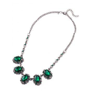 Faux Crystal Rhinestone Oval Necklace