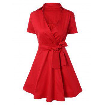 Vintage Bowknot Embellished Swing Dress