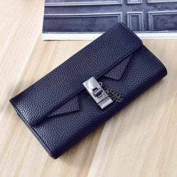 Embossing Twist-Lock Closure Chain Wallet - BLACK BLACK