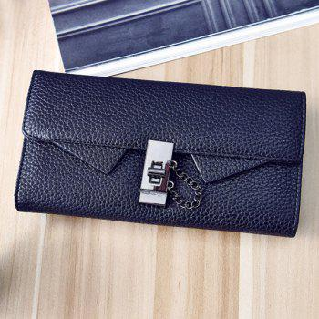 Embossing Twist-Lock Closure Chain Wallet -  BLACK