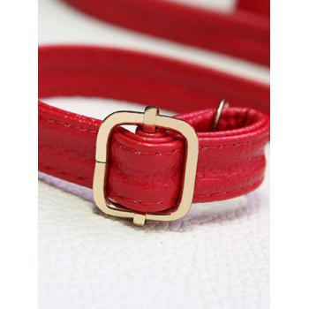 PU Leather Metal Magnetic Closure Crossbody Bag - RED