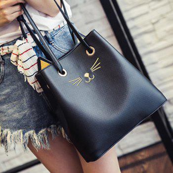 PU Leather Drawstring Cat Pattern Shoulder Bag - BLACK