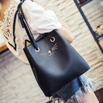 PU Leather Drawstring Cat Pattern Shoulder Bag