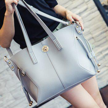PU Leather Metal Twist-Lock Closure Shoulder Bag