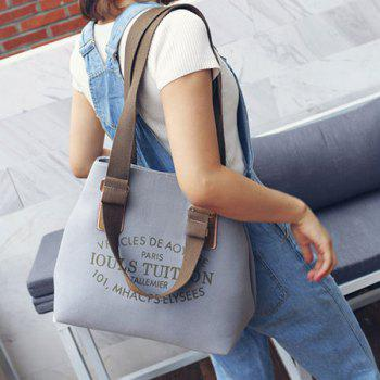Magnetic Closure Letter Print Canvas Shoulder Bag