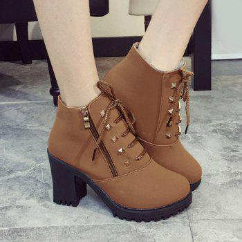 Side Zip Rivet Chunky Heel Short Boots