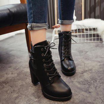 Front Lace-Up Buckles Chunky Heel Short Boots