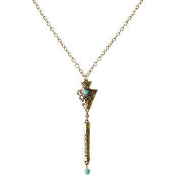 Faux Turquoise Gravé Geometric Sweater Chain - Or