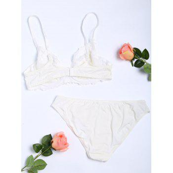 Push Up Floral Embroidered Bra Set - WHITE 80A