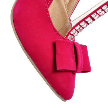 Bow Rhinestones T-Strap Pumps - ROSE MADDER 37
