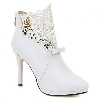 Zipper Splicing Embroidey Ankle Boots